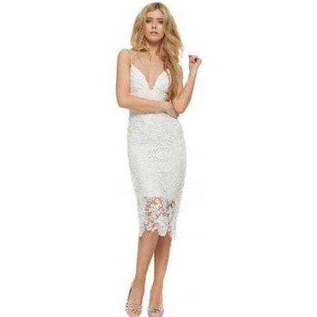 Clothing Women Short Dresses Abyss Sicily White Lace Strappy Evening Midi Dress White