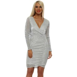 Clothing Women Short Dresses Allyson Silver Sequinned Pencil Dress Silver