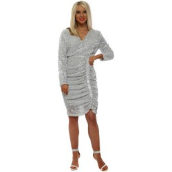 Clothing Women Short Dresses Showny Silver Sequinned Ruched Fit Midi Dress Silver