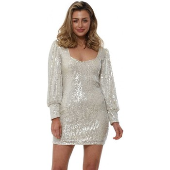 Clothing Women Short Dresses Flamant Rose Silver Sequinned Scoop Neck Party Dress Silver