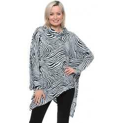 Clothing Women Tops / Blouses Qed London Soft Touch Baby Blue Zebra Asymmetric Top Blue