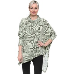 Clothing Women Tops / Blouses Qed London Soft Touch Lime Zebra Asymmetric Top Green