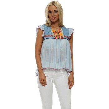 Clothing Women Tops / Blouses Aleph Sunshine Floral Brocade Baby Blue Chiffon Top Blue
