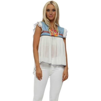 Clothing Women Tops / Blouses Aleph Sunshine Floral Brocade White Chiffon Top White