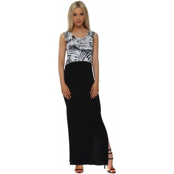 Clothing Women Long Dresses A Postcard From Brighton Tamra Tropical Tribe Wisteria Colour Block Maxi Dress Blue