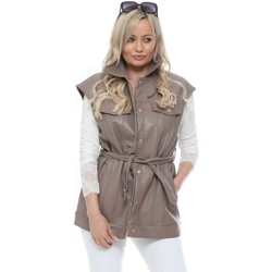 Clothing Women Jackets / Cardigans Flam Mode Taupe Faux Leather Belted Gilet Brown