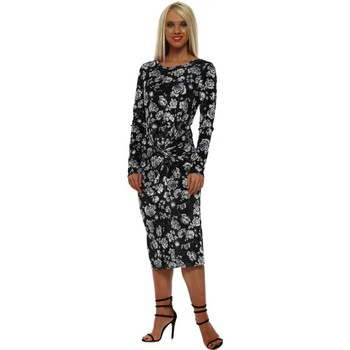 Clothing Women Long Dresses A Postcard From Brighton Taylor Black Floral Knot Tie Dress Black