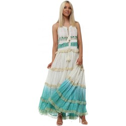Clothing Women Long Dresses Gipsy Queen Turquoise & Cream Tiered Lace Tassel Tie Maxi Dress Blue