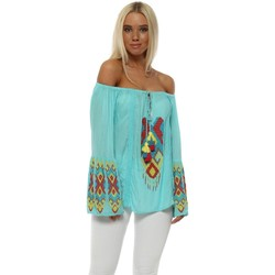 Clothing Women Tops / Blouses Nj Couture Turquoise Aztec Beaded Bardot Top Blue