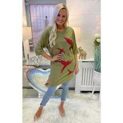 Clothing Women Tunics Sundae Tee Vanya Khaki Starling Tunic Tee Kaki