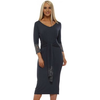Clothing Women Short Dresses A Postcard From Brighton Victoria Charcoal Lace Trim Tie Dress Grey