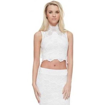 Clothing Women Tops / Blouses Nightcap Victorian Lace Crop Top In Dove White