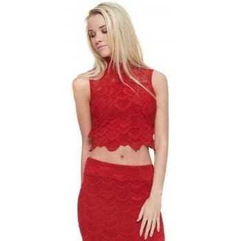 Clothing Women Tops / Blouses Nightcap Victorian Lace Crop Top In Lipstick Red