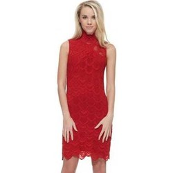 Clothing Women Short Dresses Nightcap Victorian Lace Open Back Pencil Dress In Lipstick Red