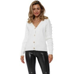 Clothing Women Jackets / Cardigans Exquiss's White Bobble Sleeve Gold Button Cardigan White