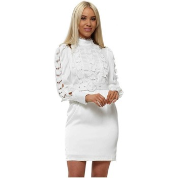 Clothing Women Short Dresses Allyson White Butterfly Lace Bodice Belted Dress White