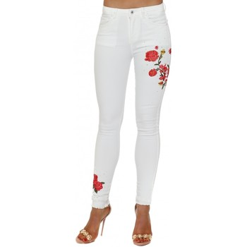 Clothing Women Slim jeans Boutique White Floral Embroidered Sparkle Stretch Fit Jeans White