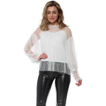 Clothing Women Tops / Blouses Flam Mode White Flouncy Sleeve Pearl Blouse White