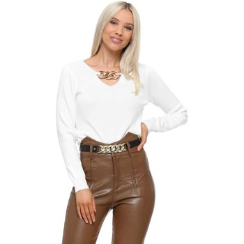 Clothing Women Jumpers Flam Mode White Gold Neck Chain Jumper White