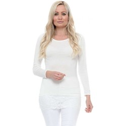 Clothing Women Tops / Blouses Boutique White Jersey Long Sleeve Lace Hem Top White