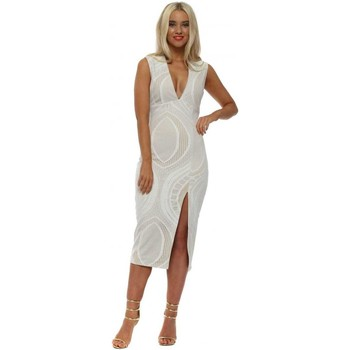 Clothing Women Dresses F&p White Lace Barely There Pencil Dress White
