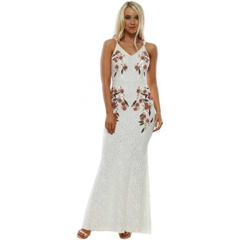 Clothing Women Long Dresses Hope & Ivy White Lace Cami Maxi Dress With 3D Floral Applique White