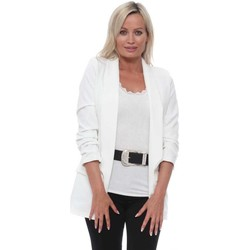 Clothing Women Jackets / Blazers Boutique White Ruched Sleeve Fitted Blazer White