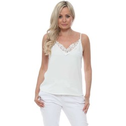 Clothing Women Tops / Blouses Capsule White Slinky Lace Neck Camisole Top White