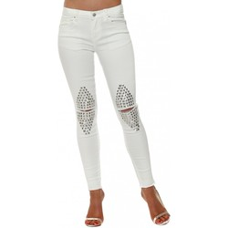 Clothing Women Slim jeans Boutique White Stretch Fit Ripped Studded Knee Jeans White