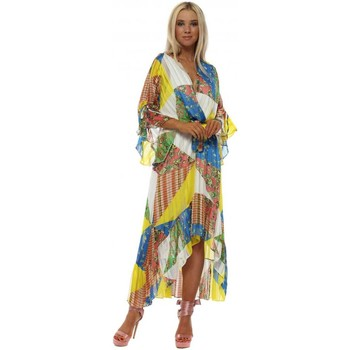 Clothing Women Long Dresses Briefly Yellow & Blue Patchwork Wrap Front Frill Maxi Dress Yellow