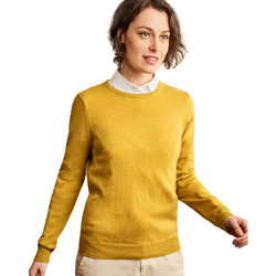 Clothing Women Jumpers Woolovers Cashmere and Merino Crew Neck Knitted Jumper Yellow