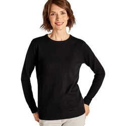 Clothing Women Jumpers Woolovers Cashmere and Merino Crew Neck Knitted Jumper Black