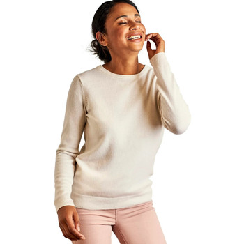 Clothing Women Jumpers Woolovers Cashmere and Merino Crew Neck Knitted Jumper BEIGE