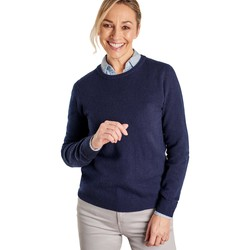 Clothing Women Jumpers Woolovers Cashmere and Merino Crew Neck Knitted Jumper Blue