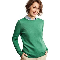 Clothing Women Jumpers Woolovers Cashmere and Merino Crew Neck Knitted Jumper Green