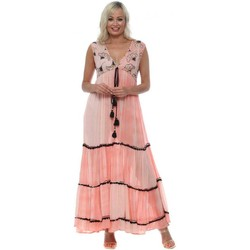 Clothing Women Long Dresses Golden Days Pink Floral Sequinned Maxi Dress Pink