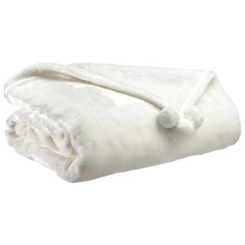 Home Blankets, throws Vivaraise TENDER POMPONS White
