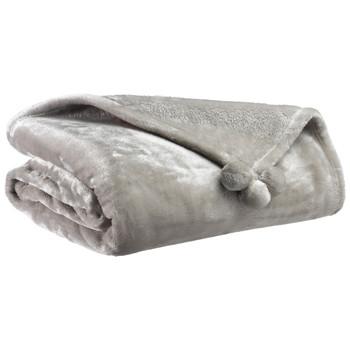 Home Blankets, throws Vivaraise TENDER POMPONS Grey / Pearl