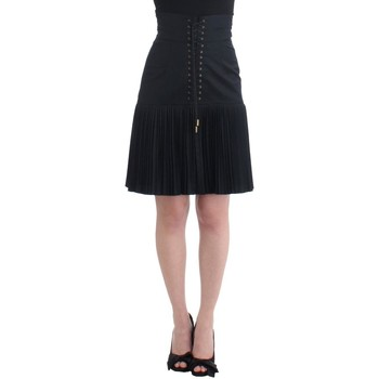 Clothing Women Skirts Roberto Cavalli Black Pleated Laced Sk 38