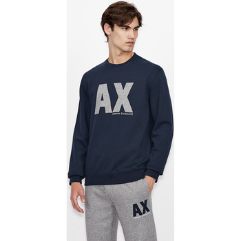 Clothing Sweaters EAX Sweatshirt col rond  6KZMFG-ZJ5UZ navy bleu marine