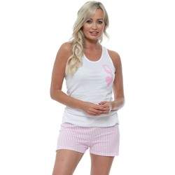 Clothing Women Sleepsuits James Steward White & Candy Queen Of Hearts Pyjamas Pink