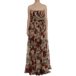 Clothing Women Long Dresses D&G Pink Red Roses 594