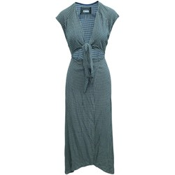 Clothing Women Long Dresses Reformation Maxi Checked Wrap Blue