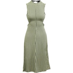 Clothing Women Long Dresses Reformation Checked Open Back White