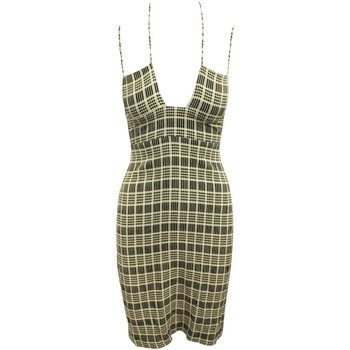 Clothing Women Short Dresses Reformation Brown Checked Dres Brown