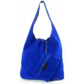 Bags Women Shopping Bags / Baskets Vera Pelle Shopper Bag XL A4 Blue