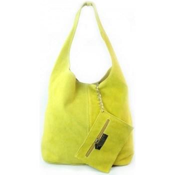 Bags Women Shopping Bags / Baskets Vera Pelle Shopper Bag XL A4 Yellow