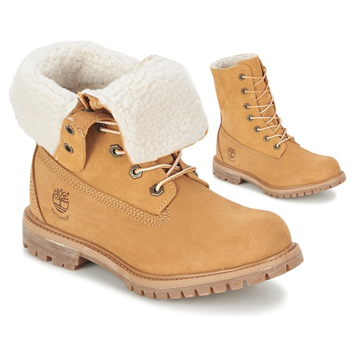 Shoes Women Mid boots Timberland AUTHENTICS TEDDY FLEECE WP FOLD DOWN COGNAC