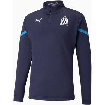 Clothing Men Sweaters Puma Sweat Olympique de Marseille Prematch bleu marine/bleu azur