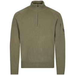Clothing Men Jumpers Cp Company Quarter Zip Sweater - Stone Grey / Green